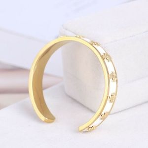 Tory Burch Enamel Logo White & Gold Cuff Bracelet
